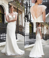 Wholesale - 2014 Sheer Lace Wedding Dresses Sheath Short Sle...