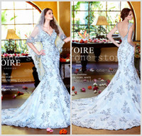 Wholesale 2014 Hot Elegent Mermaid Wedding Dresses V Neck Cap Sleeves Lace Appliques Embroidery Print Backless Court Train Bridal Gown V1301