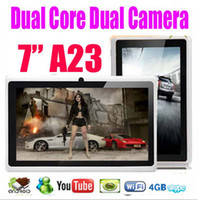 Wholesale 10pcs Inch A23 Dual Camera Android Tablet PC Allwinner Dual core G M Ram GB Rom Play Store Xmas Gifts