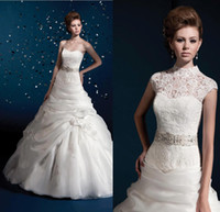 Wholesale 2014 new sweetheart organza pick up sheer Wedding Dresses high neck lace jacket beads belt high quality bridal gown ball gown hot