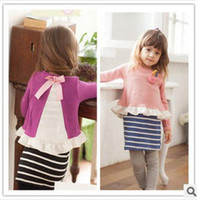 Wholesale New Arrival Girls Korean Style Long Sleeve Mini Dress Striped Fake Two piece Straight Dress