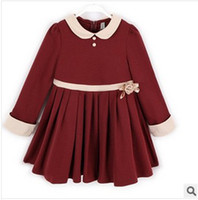 Wholesale 2014 Spring Hot Sale Girls Pleated Dress School Style Peter Pan Collar High Waist Dress Wine Red Black