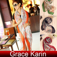 Wholesale 4 colors Fashion GK Lady Girls Women Bohemian Flower Print scarf Shawl Neck Wrap CL5084