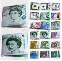 Wholesale 10pcs Fashion Chic Womens Mens Unisex Currency Notes USD Dollar GBP Pound AUD EURO Pattern Wallet Purse BX49