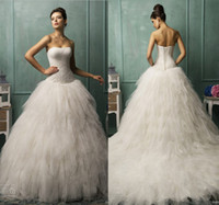 Wholesale Lovely Pleated Bodice Bella Strapless AmeliaSposa Collection Ball Gown Wedding Dresses Luxury Fluffy Tulle Wedding Dress Bridal Gowns