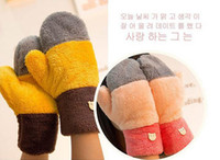 Wholesale Winter Mittens Gloves For Women Imitation Cashmere Contrast Color Same Size colors Mix prs New Arrvial C9