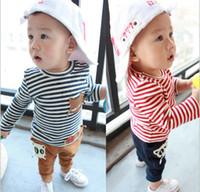 Boy Spring / Autumn Long Korean Spring Kids Clothes Long Sleeve Stripe Cat Tshirt + Pants 2pcs Baby Boy Casual set Children Sets %100 Pure Cotton Toddler Wear QZ470