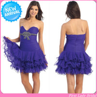 Reference Images V-Neck Chiffon New Design 2014 V-neckline Chiffon Short Purple Corset Prom Dresses Beaded Party Gowns Party Dress