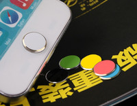 For Apple iPhone   Colorful Metal Aluminium Home Button Sticker Decoration for iphone 5 5S 5C in retail Pack