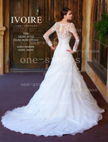 Wholesale 2014 Hot Scoop Neck A Line Wedding Dresses Organza Pleats Covered Button Formal Bridal Gown With Bolero Illusion Long Sleeves Jacket V1333