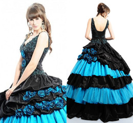 Wholesale 2014 New Arrival Ball Gown Quinceanera Dress Special Occasion Dresses With Blue Black V Neck Backless Tiers Applqiues Sweep Train Sku Q022