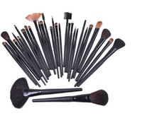 Wholesale Professional brush set makeup brush set Makeup Brushes Tools Set with Black Leather bag