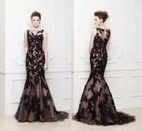 Reference Images Jewel/Bateau Tulle 2014 zuhair murad Sexy Bateau Zipper Beaded Sheer Lace Chapel Train Tulle Prom Evening Gowns