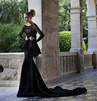 Reference Images Jewel/Bateau Chiffon 2014 New Arrival Scoop Neckline Long Sleeve Lace Aplique Zuhair Murad Sexy Keyhole Black Evening Dresses Prom Gown Long Train Free Shipping