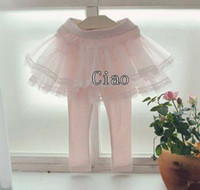 Wholesale Children Clothing Princess Leggings Kids Trouser Child Clothes Skinny Pants Girls Tights Long Trousers Childrens Cute Lace Skirt Leggings