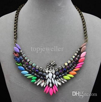 Wholesale Colorful Eagle Pendant Bib Choker Statement Necklace Fashion Jewelry For Women Vintage Style Chunky Chain necklace