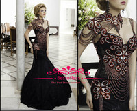 Wholesale Black and Red Mermaid Evening Gowns Sheer Lace Sequins Beaded Crystals Tulle high collar Sweetheart long Prom Dresses BO3621
