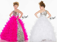 Model Pictures Girl Rhinestones 2014 Glitz Little Girl's Pageant Dresses One Shoulder Rhinestones Ruffle Ball Gown Floor Length Shiny Sequin And Organza Flower Girls Dress