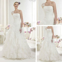 Trumpet/Mermaid Reference Images Chiffon WD01208 Grecian Style One Shoulder Organza Wedding Dress 2012