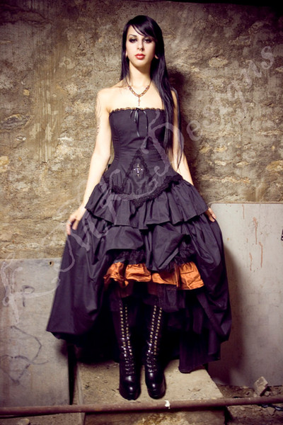 robes victoriennes 2014 Steampunk Wedding Dress Gothic Lolita Inspired Vampire in Black Cotton Robes de mariée