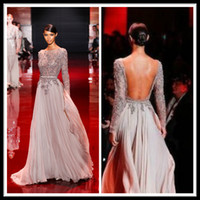 Model Pictures appliques - 2014 Elegant Elie Saab Champagne Floor Length Chiffon Pageant Prom Dresses Sheer Long Sleeve A Line Celebrity Evening Gowns With Applique
