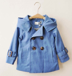 Wholesale 2014 Children blue Cream colored breasted hooded jacket cotton cotton trade authentic clip