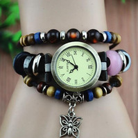 Wholesale C037 puck lady vintage Pierced Butterfly Pendant bracelet Designer Rome time women fashion Genuine cow leather quartz watch
