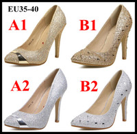Wholesale 2014 Glitter Rhinestone Studded Pointed Toe Stiletto Heels Pumps Wedding Bride Gold Silver Dress Shoes EU35 to ePacket