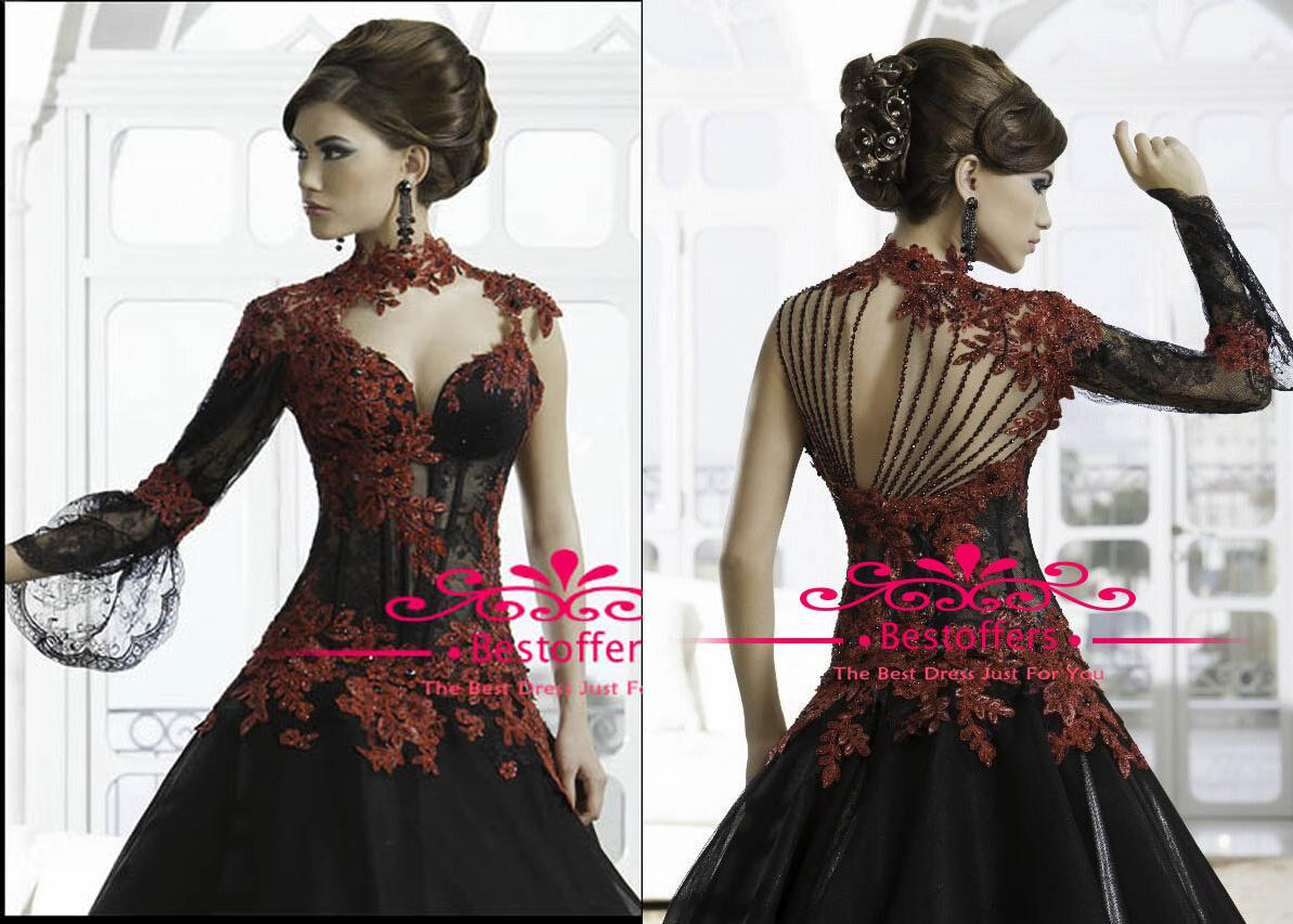 Black Red A Line Evening Dresses Sheer Long Sleeve Sequins