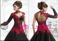 al por mayor novia de un hombro-Red Una línea de vestidos de noche negros / de manga larga para damas Cristales Lentejuelas cordón moldeado un hombro novia de manga larga sm114 vestidos de baile