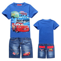 Wholesale Lighting Mcqueen Cars Cartoon Clothes Boys Summer Suits yrs Short Sleeve Cotton Tee amp Jeans Shorts piece Set