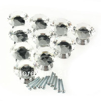 Ceramic   Wholesale - Free Shipping 10 Pcs Bag 40mm Crystal Glass Diamond Shape Clear Cabinet Knob Drawer Pull Handle Kitchen Door Wardrobe