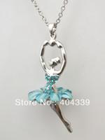 Beaded Necklaces ballerina necklace - a Light blue ballet ballerina pendant necklace
