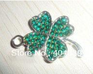 Wholesale promotional last green crystal four leaves clover charm jewelry