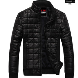 Wholesale new Men s jacket zipper Slim Fashion Wadded jacket Stand collar Pu leather Plus velvet mens jacket men s coat men s clothes black