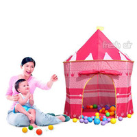 Tents Animes & Cartoons Cloth Wholesale - Folding Outdoor Indoor Kids Children Girls Play Tent House Princess Castle Toys[030191]