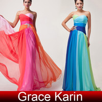 Wholesale New Colorful Evening Dresses Sweetheart A Line Long Chiffon Formal Gowns with Crystal CL6069