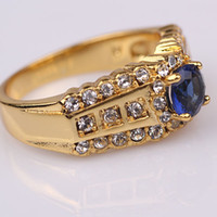 Wholesale Top quality mens ring Elegant k Yellow gold filled ct cut Sapphire size with gemstone Mens jewelry