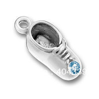 Charms   free shipping 10pcs a lot zinc alloy plating antique silver March crystal Birthstone baby shoe jewelry charm(184506)