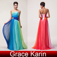 Wholesale Floor Length Pleated Chiffon Bridesmaid Dresses Sexy Sweetheart A Line Formal Evening Gowns Colorful CL6069