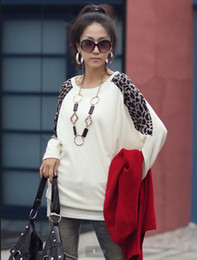 Wholesale EAST KNITTING S Women s Clothes Sexy Leopard Print Split Long Sleeves Lady Blouse Casual Tops Long T Shirt