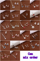 Wholesale Latest Silver Jewelry Sets Styles Mix Orders Charms Pendants Links Chain Necklace amp Earrings Set YS225