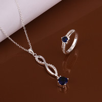 Wholesale Jewelry Sets Silver Infinity Pendants Necklaces Crystal Diamond Encrusted Chain Necklace Rings Christmas Set YS225
