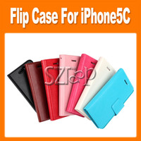 Wholesale 2014 Leather wallet pouch case credit card book for iphone C mini stand holster holder skin cover case