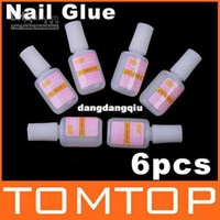 Base coat Gel Clear uv gel 80g Wholesale - 6pcs NAIL GLUE With BRUSH False French Tips Nail Art, Free Shipping, Dropshipping