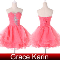 Grace Karin Real Picture Watermelon Prom Dresses Ball Gown S...