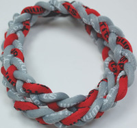 Chokers baseball necklace red grey - Baseball Sports Titanium Rope Braided Red Grey Sport Necklace RT86