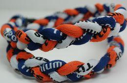 Wholesale - 400PCS Lot Baseball Sports Titanium 3 Rope Braided Dark Blue Orange White Sport GT Necklace RT029