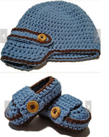 Wholesale 5 off Baby blue crochet hats sub package Buckle shoes Cheap shoes Baby Clothes models available Set