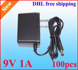 AC DC Wall 9V 1A Power Adapter supply 9V 1000mA Adaptor 100pcs Lot US Plug DHL free shipping